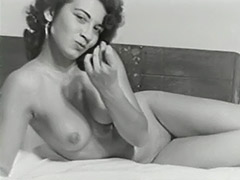 Cute Bitch Posing Naked on Bed 1950