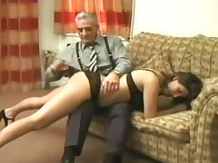 Caning, Big Tits, Brunette, Caning, Lingerie, Old