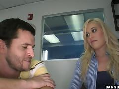 Sexy Blonde Gets her Pink Pussy Drilled In A Job Interview