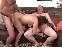 Granny Sucks Cock and Gets Fuck in Bisexual MMF Threesome