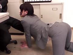 Horny Japanese office chick having CFNM sex with coworker