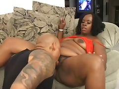 Bbw ebony gets her hairy pussy fucked