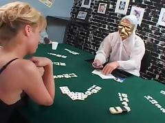Blond shemale loses the poker game and gets banged