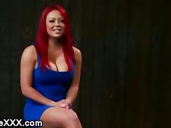 Bdsm busty redhead with locked head gets machine fucked