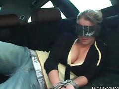 Sexy blonde blind folded girl gets horny