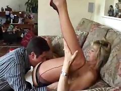 Slutty British mature lady blows a cock and gets licked