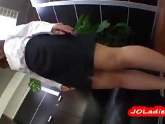 Office Lady Sucking And Riding On A Dildo In The Office video