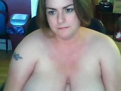 fat BBW wife showing her big tits on webcam