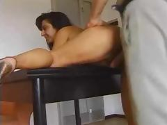 Italian Mature Gets Her Hairy Pussy Filled with massive spank