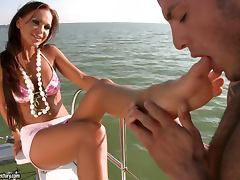 Christina Bella gets her holes licked and fucked hard on a yacht