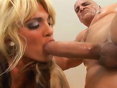 Stunning blonde milf takes huge cock