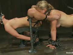 Hot Girl Forced to Eat another Chick's Pussy in BDSM Lesbian Vid