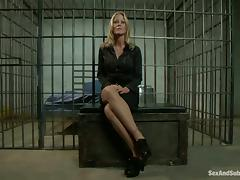 Blonde office chick gets fucked by an inmate in prison video