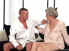 Aliz the slutty granny rides big dick and gets a mouthful