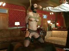 Cherry Torn gives a hot blowjob in bondage