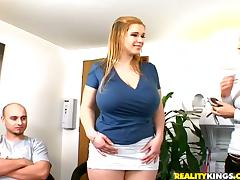 Huge tittied Terry Nova rides a dick and gets a mouthful