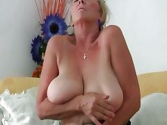 Busty granny needs to get off in pantyhose