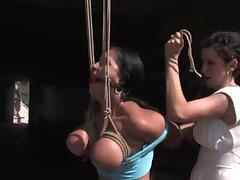 Exotic siren gets some tight breast bondage and a huge cock