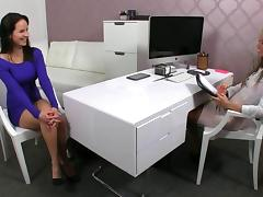 Female agent gets eaten out during an interview
