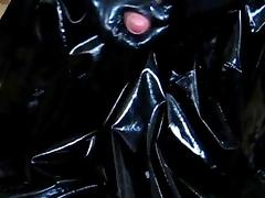 Jerking off on PVC coat with latex gloves