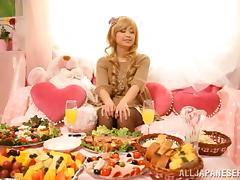 Food, Asian, Blonde, Food, Japanese, Pantyhose