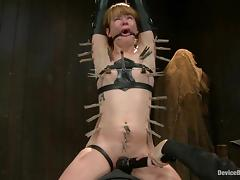 Redhead Claire Robbins gets covered with wax and toyed