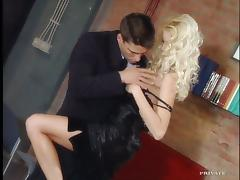 Office, Blowjob, Couple, Cum in Mouth, Cumshot, Doggystyle