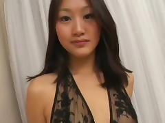 Asian gives blowjob, facial