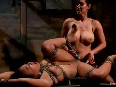 Leilani Leeane Gets Banged at the end of one's tether Isis Love in Lesbian Strapon Videotape