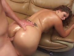 Curvy oiled up MILF sucks a hard thick cock then fucks