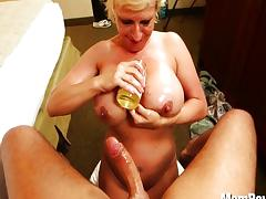 Slutty MILF with big tits enjoys cock
