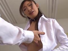 Sexy Asian teacher blows a student after class