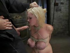 Katie Kox sucks a dick gets her huge tits tortured