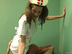 Shemale in nurse uniform gets ass fucked by bald dude