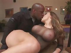 Busty whore gets banged by two black guys