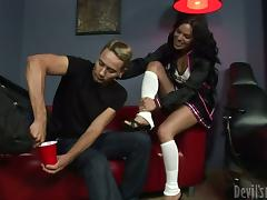 Transsexual cheerleader and a guy drill each others asses