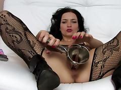 Bodystocking, Bodystocking, Brunette, Pornstar, Sofa, Solo