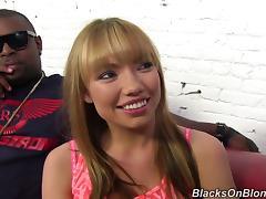 White Girl Swallows Cum During an Interracial Gangbang