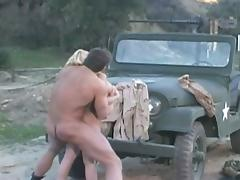 Hot soldier drilling blonde whore