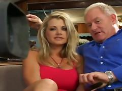 Hot looking blonde handles four guys and a dp fuck