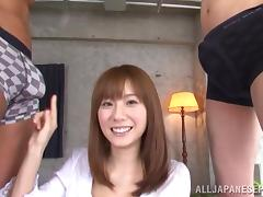 Yuma Asami Japanese milf enjoys a threesome