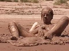My sexy tits and pussy in mud