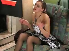 Russian Business Woman in Nylons Acquires Screwed