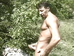 Hot Muscled Gay Daddies Outdoor Cock Stroking Fun