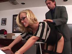Office, Blonde, Couple, Doggystyle, Hardcore, Nylon