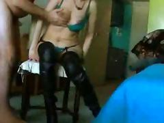 Fuck on the chair with wife