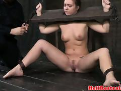Hogtied submissive skank being humilliated by maledom master