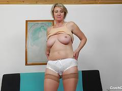 Mature, Blonde, Mature, Old, Saggy Tits, Solo