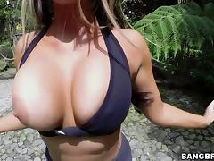 Angelic babes with fake tits displaying her big ass then getting fucked outdoor